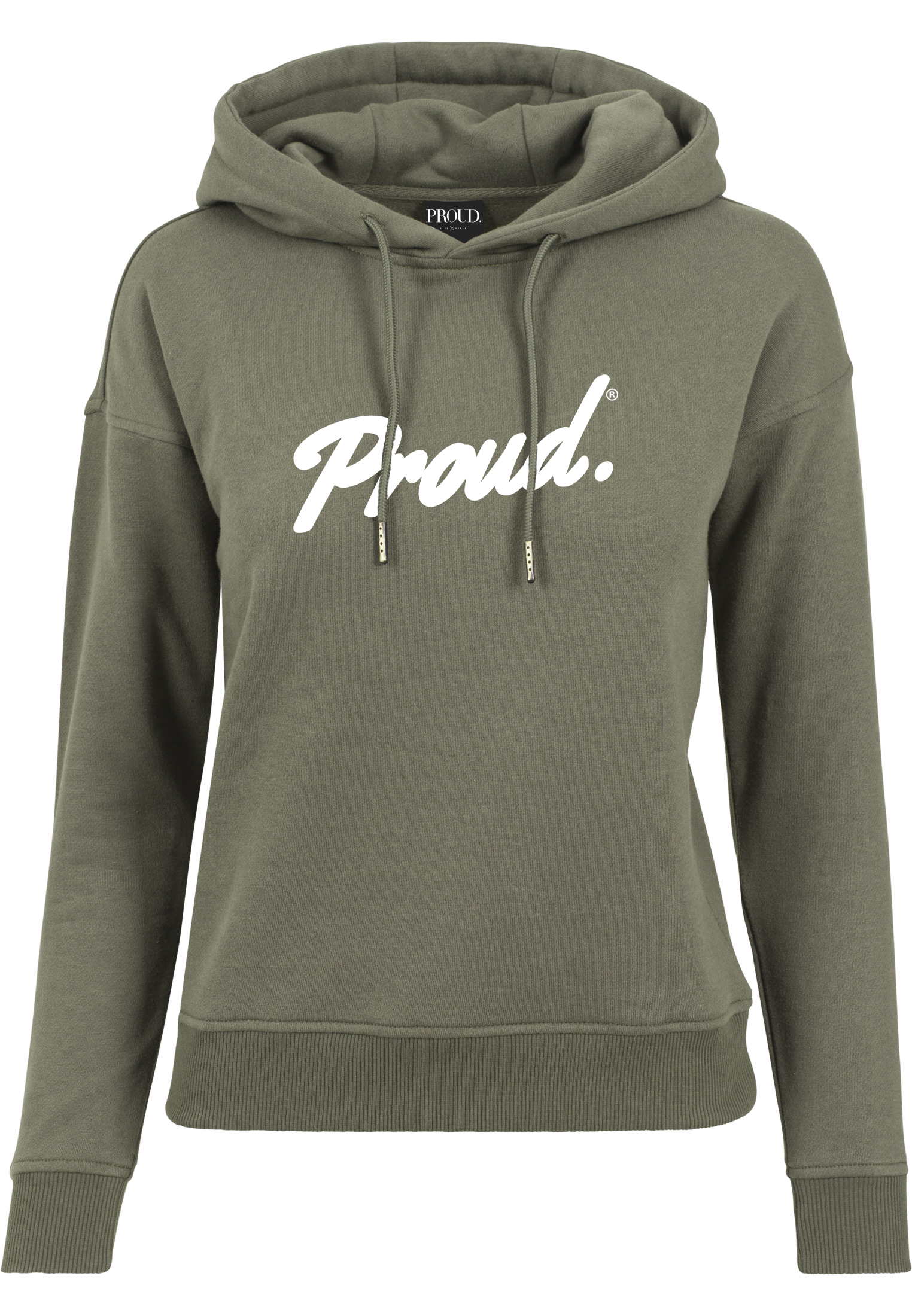 Trui Met Capuchon Dames.Proud Script Logo Dames Hooded Sweater Olive Proud