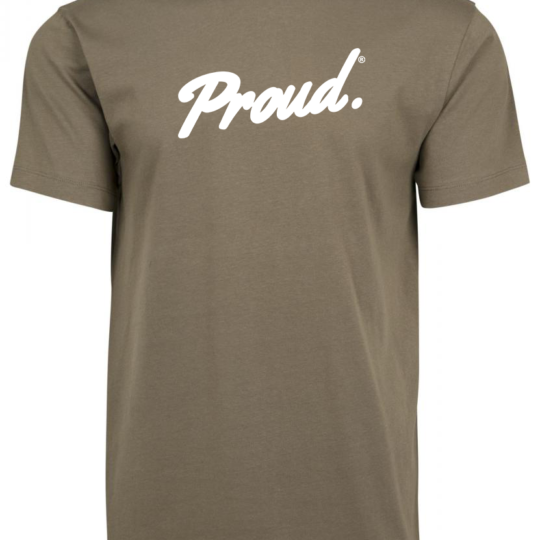 PROUD.Script Logo Olive